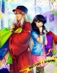 1boy 1girl bag black_hair casual hat higurashi_kagome inuyasha inuyasha_(character) japanese_clothes kay-l looking_at_viewer potato_chips shopping_bag silver_hair