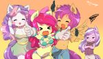 >_< 4girls apple_bloom blush born-to-die buruma closed_eyes cutie_mark_crusaders diamond_tiara hasbro lucky_star multiple_girls my_little_pony my_little_pony_friendship_is_magic open_mouth personification redhead scootaloo sweetie_belle