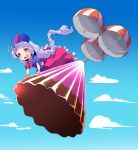 1girl :d absurdly_long_hair ahoge blue_dress blue_eyes blue_hat blue_sky braid clouds dress food hat highres long_hair multicolored multicolored_clothes multicolored_dress nurse_cap open_mouth parachute pudding puffy_short_sleeves puffy_sleeves red_cross red_dress shinapuu short_sleeves silver_hair single_braid sky smile solo touhou very_long_hair yagokoro_eirin