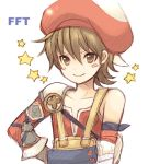 androgynous armor blush boy brown_eyes brown_hair final_fantasy final_fantasy_tactics_a2 final_fantasy_tactics_advance hat lowres luso_clemens male pocopoco short_hair shota shoulder_pads solo star strap straps trap