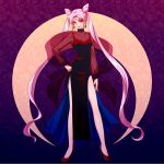 1girl adult asahi_haru bishoujo_senshi_sailor_moon black_lady chibi_usa crescent double_bun dress earrings facial_mark floral_background forehead_mark high_heels jewelry long_hair pink_hair purple_background red_eyes sash shoes side_slit smile solo twintails