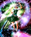 bad_id belt dress hairband hitodama katana konpaku_youmu konpaku_youmu_(ghost) petals reri sheath short_hair silver_hair solo sword touhou unsheathing weapon yellow_eyes