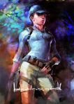 breasts capcom gloves gun hat jill_valentine ponytail resident_evil resident_evil_5 traditional_media watercolor watercolor_(medium) weapon