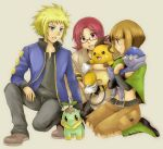 blue_eyes brown_eyes brown_hair cranidos denji_(pokemon) denzi_(pokemon) glasses gym_leader hyouta_(pokemon) midriff natane_(pokemon) pokemon pokemon_(game) pokemon_dppt raichu red_eyes red_hair redhead star_light turtwig