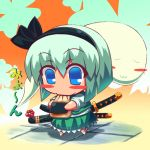blue_eyes blush blush_stickers bob_cut chibi closed_eyes eating flower food green_hair katana konpaku_youmu konpaku_youmu_(ghost) mochi myon myon_(phrase) raion-san ribbon sheath sheathed silver_hair sword tiles touhou translated wagashi weapon