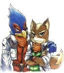 2boys blue_eyes falco_lombardi fox_mccloud furry green_eyes jacket multiple_boys nintendo scarf star_fox
