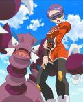 1girl correa_(pokemon) drapion female looking_at_viewer monster nintendo pokemon pokemon_(anime) purple_hair screencap short_hair sky solo team_flare