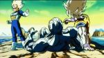 3boys 90s alien animated animated_gif armor belt blast blonde_hair boots clouds cooler_(dragon_ball) crotch_kick cyan_eyes dougi dragon_ball dragonball_z explosion gloves holding kick looking male_focus metal multiple_boys namek pain punch red_eyes robot shiny son_gokuu super_saiyan tail target teleport vegeta violence wristband