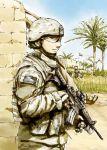 1boy assault_rifle flag gun helmet iraq military rifle soldier solo sumisi weapon