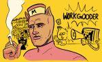 1boy animal_ears bratty_(undertale) burger burgerpants catty_(undertale) cigarette hat mettaton microphone personification undertale