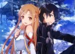 1boy 1girl abec armor asuna_(sao) black_eyes black_hair breastplate brown_eyes brown_hair bunbun couple detached_sleeves gloves highres kirito long_hair open_mouth short_hair sky smile sword_art_online