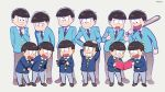 6+boys :3 baseball_bat black_eyes black_hair book brothers dual_persona grin hand_on_another's_head heart heart_in_mouth male_focus matsuno_choromatsu matsuno_ichimatsu matsuno_juushimatsu matsuno_jyushimatsu matsuno_karamatsu matsuno_osomatsu matsuno_todomatsu mery_(apfl0515) multiple_boys necktie open_mouth osomatsu-kun osomatsu-san sextuplet_(osomatsu-kun) sextuplets siblings smile sunglasses sunglasses_removed time_paradox younger