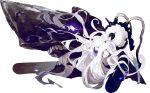 1girl akira_(kadokawa) barefoot blue_eyes dress glowing glowing_eyes kantai_collection long_hair official_art pale_skin shinkaisei-kan short_dress solo submarine_hime torpedo transparent_background very_long_hair white_dress white_hair