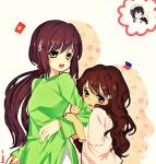 2girls brown_hair chuong multiple_girls philippines tears vietnamese_clothes