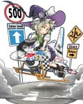 1girl ace_of_spades airplane alternate_hairstyle blonde_hair bmw boots bow braid canon_(company) citizen citizen_(company) gatling_gun goggles goggles_on_head green_eyes gun hat hat_bow highres hover_bike kirisame_marisa kitsuneno_denpachi puffy_sleeves road_sign shoei short_hair sign solo touhou us_air_force weapon witch_hat wrist_cuffs