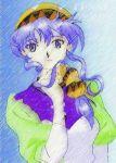 1girl blue_eyes blue_hair breasts dress hat luna_(lunar) luna_noah lunar lunar:_the_silver_star multicolored_background solo