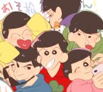 6+boys ;3 black_hair brothers cat cellphone chokota closed_eyes copyright_name crayon_shin-chan heart heart_in_mouth hood hoodie male_focus matsuno_choromatsu matsuno_ichimatsu matsuno_juushimatsu matsuno_jyushimatsu matsuno_karamatsu matsuno_osomatsu matsuno_todomatsu multiple_boys one_eye_closed osomatsu-kun osomatsu-san parody phone self_shot sextuplets siblings sleeves_past_wrists smartphone smile style_parody sunglasses sunglasses_removed