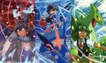 3boys ahoge alain_(pokemon) blue_eyes charizard dark_skin dark_skinned_male glowing glowing_eyes green_eyes greninja hat hat_removed headwear_removed highres mega_charizard_x mega_pokemon mega_sceptile multiple_boys pokemon pokemon_(anime) pokemon_(creature) rain red_eyes satoshi-greninja satoshi_(pokemon) scarf sceptile shota_(pokemon) touyu_(yuruyuruto)