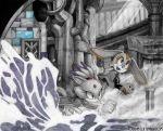 blaze_the_cat cream_the_rabbit monochrome ruins smoke sonic spot_color todd_l._milhouse underground water