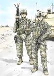 3boys assault_rifle gun helmet holster iraq military military_vehicle multiple_boys rifle scope soldier sumisi vehicle weapon