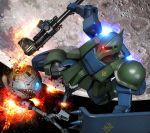 ball_(gundam) battle damaged gun gundam gundam_ms_igloo hiropon_(tasogare_no_puu) mecha moon shield space weapon zaku zaku_i