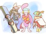 closed_eyes clothed_pokemon earmuffs goggles goggles_on_hat hawlucha lucario mewtwo no_humans pikachu pokemon poncho scarf snowboard violet_eyes yellow_eyes