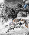 blaze_the_cat cream_the_rabbit flying grass monochrome rain smoke sonic tagme todd_l._milhouse