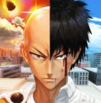 10s 1boy 2015 bald before_and_after black_hair bleeding blood blue_sky building cape clouds glaring looking_at_viewer male_focus meteor one-punch_man portrait red_sky saitama_(one-punch_man) scowl shiny sky solo spiky_hair tsukinopandaaa upper_body