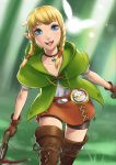 1girl bike_shorts blonde_hair blue_eyes boots bow_(weapon) braid brown_boots brown_gloves brown_legwear cloak collarbone compass crossbow daniel_macgregor dual_wielding fairy gloves jewelry leather leather_gloves linkle looking_at_viewer necklace nintendo open_mouth pointy_ears shiny shiny_skin shorts sidelocks skirt smile solo sunlight the_legend_of_zelda thigh-highs thigh_boots twin_braids upper_body weapon zelda_musou zettai_ryouiki