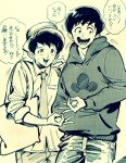 2boys brothers dress_shirt hat ink_(medium) male_focus matsuno_osomatsu matsuno_todomatsu money_gesture monochrome multiple_boys osomatsu-kun osomatsu-san porkpie_hat shirt shorts siblings sketch smile tarasarami traditional_media