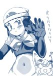 1girl cosplay female hainchu hikari_(pokemon) long_hair monochrome mr._mime navel nintendo pokemon sketch team_rocket team_rocket_(cosplay) uniform
