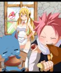 1girl apron blonde_hair blush breasts fairy_tail food gaston18 happy_(fairy_tail) ice_cream large_breasts lucy_heartfilia maid_headdress naked_apron natsu_dragneel pink_hair