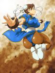 1girl absurdres ass blue_dress blush boots bracelet breasts brown_eyes brown_hair china_dress chinese_clothes chun-li dress female highres jewelry noq pantyhose pelvic_curtain serious solo spiked_bracelet spikes street_fighter thighs
