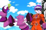 1girl animated animated_gif claws correa_(pokemon) drapion female monster nintendo pokemon pokemon_(anime) sky smile team_flare zygarde zygarde_core