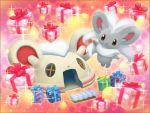 box cinccino gift gift_box official_art pokemon pokemon_mystery_dungeon sparkle tagme white_fur