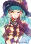 1girl black_gloves breasts eyeshadow fiore_burnelli gloves green_hair hat lipstick looking_at_viewer makeup pomiko_(mokokkokon) smile solo star_ocean star_ocean_integrity_and_faithlessness upper_body wink witch_hat yellow_eyes