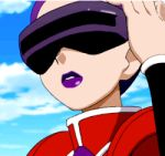 1girl animated animated_gif correa_(pokemon) female licking_lips lipstick nintendo pokemon pokemon_(anime) purple_hair short_hair sky solo team_flare tongue visor