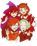 4girls aqua_hair atlus brown_hair female_protagonist_(persona_3) halloween halloween_costume kirijou_mitsuru megami_tensei multiple_girls persona persona_3 redhead shiomi_kotone sutei_(giru) takeba_yukari yamagishi_fuuka