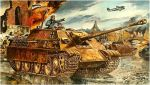 50s 60s aircraft airplane army box_art bridge building cannon clouds damaged flag german ground_vehicle gun jagdpanther machine_gun military military_vehicle model_kit motor_vehicle oldschool real_life realistic ruins scan smoke soviet tagme takani_yoshiyuki tank tank_destroyer traditional_media weapon wehrmacht world_war_ii wreckage