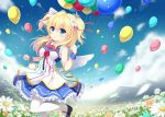 1girl angel_wings balloon bare_arms blonde_hair blue_eyes blue_sky bow clouds field fisheye flower flower_field hair_bow hair_flower hair_ornament long_hair mountain noe_noel original pantyhose sen_kagura shirt sky sleeveless sleeveless_shirt solo standing standing_on_one_leg two_side_up white_legwear wings wrist_cuffs