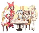 /\/\/\ 5girls :d :t =3 ^_^ alpaca_ears alpaca_suri alpaca_tail animal_ears ankle_boots bangs beige_ribbon beige_vest bird_tail black_footwear black_shoes blonde_hair blunt_bangs blush boots brown_eyes buttons chair closed_eyes coat commentary_request crested_ibis_(kemono_friends) cup curry curry_rice dish drawstring drink drinking_glass eating eurasian_eagle_owl_(kemono_friends) eyebrows eyebrows_visible_through_hair eyelashes facing_another feathered_wings feathers food frilled_sleeves frills from_side fur-trimmed_boots fur-trimmed_sleeves fur_trim gloves gradient_hair gradient_ribbon grey_hair hair_between_eyes hair_bobbles hair_bun hair_ornament hair_over_one_eye hair_ribbon happy head_wings heart holding holding_cup holding_spoon jitome kemono_friends long_sleeves looking_at_another looking_down low_twintails mary_janes motion_lines multicolored_hair multiple_girls musical_note neck_ribbon no_nose northern_white-faced_owl_(kemono_friends) open_mouth outdoors outline pantyhose pink_skirt plaid pleated_skirt quaver red_legwear red_ribbon red_skirt redhead ribbon rice scarlet_ibis_(kemono_friends) serving shadow shirt shoe_ribbon shoe_soles shoes short_hair short_hair_with_long_locks shorts sidelocks sitting skirt sleeveless smile sparkle spoon spoon_in_mouth standing swept_bangs table tablecloth tail tareme tea teacup thigh-highs tray tress_ribbon tsurime twintails twitter_username two-tone_hair vest wall white_footwear white_gloves white_hair white_legwear white_outline white_shirt white_shoes wide_sleeves wings wooden_table yellow_buttons yellow_eyes zettai_ryouiki zn_(zzzzzni)