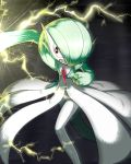 angry clenched_teeth electricity fist gardevoir green_hair hair_over_one_eye lotosu nintendo no_humans pokemon pokemon_(game) punching red_eyes short_hair solo teeth