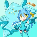 1girl chibi cosplay nintendo no_humans pokemon pokemon_(game) regice smile yellow_eyes