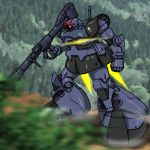 absurdres bazooka dom gundam highres hirodango mecha mobile_suit_gundam weapon zeon
