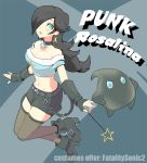 1girl alternate_costume artist_request bare_shoulders black_hair blue_eyes boots breasts character_name chiko_(mario) choker cleavage earrings fingerless_gloves gloves hair_over_one_eye hand_on_hip high_heels jewelry long_hair midriff navel nintendo poo rosetta_(mario) simple_background super_mario_bros. super_mario_galaxy thigh-highs thigh_boots