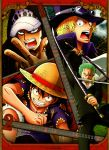 4boys black_eyes black_hair blonde_hair calendar cap clenched_teeth eyebrows fingernails fingers forehead green_hair hat looking_at_viewer monkey_d_luffy multiple_boys one-eyed one_eye_closed one_piece open_mouth roronoa_zoro sabo_(one_piece) straw_hat sword teeth trafalgar_law weapon