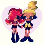 1boy 1girl agent_3 bike_shorts blush boots domino_mask goggles hand_holding headphones heart hetero inkling jacket mask nintendo octarian redhead smile splatoon takozonesu tentacle_hair