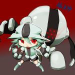 1girl chibi cosplay nintendo no_humans pokemon pokemon_(game) red_eyes registeel