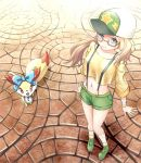 10s 1girl baseball_cap bespectacled blonde_hair blue_eyes breasts crop_top crop_top_overhang fennekin glasses green_shoes green_shorts hat long_hair midriff navel nintendo pokemon pokemon_(anime) pokemon_(game) pokemon_xy serena_(pokemon) shirt shoes short_shorts shorts small_breasts socks suspenders yellow-framed_glasses yellow_shirt