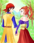 1boy 1girl artist_request bandanna bare_shoulders brown_hair couple dragon_quest dragon_quest_viii earrings eye_contact from_behind hand_holding hero_(dq8) jessica_albert jewelry looking_at_another road spoilers twintails